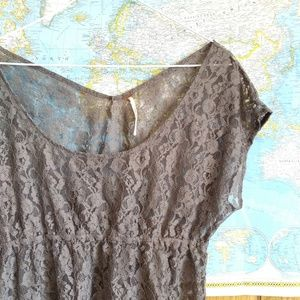 Free People Gray Nylon Lace Scoop Neck Tunic Top L